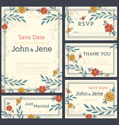 Wedding invitation design set save the date rsvp vector