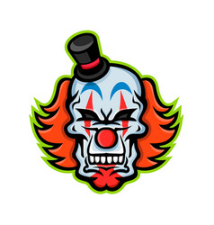 whiteface clown skull mascot vector image