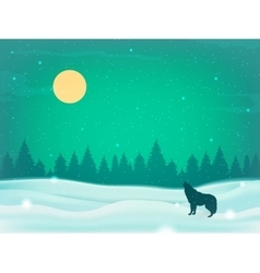 Winter landscape background with winter tree and vector image