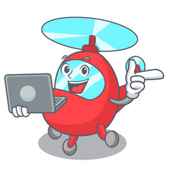 With laptop helicopter character cartoon style vector