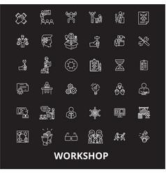 workshop editable line icons set on black vector image