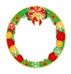 Button circular Christmas Spruce and poinsettia vector image