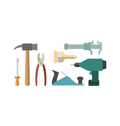 Carpentry tools Screwdriver and drill Hammer and vector image vector image