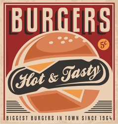 Retro burger poster design vector image vector image