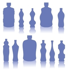 Set of Blue Bottles Silhouettes vector image