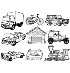 set of transportation vector image