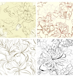 set seamless floral wallpaper vector image vector image