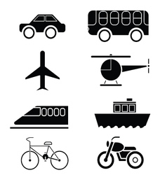 silhouette of Transportation icon set vector image vector image
