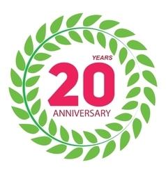 Template Logo 20 Anniversary in Laurel Wreath vector image vector image