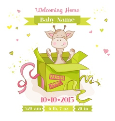 Baby Giraffe in a Box Baby Shower or Arrival Card vector image vector image
