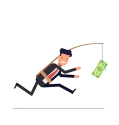 Businessman or manager is running after money vector