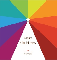 christmas tree on rainbow colors background vector image vector image