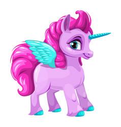 cute cartoon pegasus icon vector image