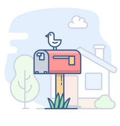 Empty mailbox line vector