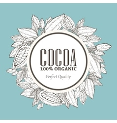 Hand painted cocoa wreath botany vector image