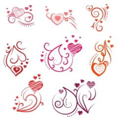ornate design elements with hearts vector image vector image