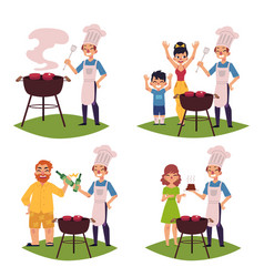 people make bbq barbeque cook meat on grill vector image vector image