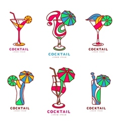 Set of colorful abstract cocktail logos vector image