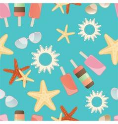 Summer sun starfish and icrecream vector image vector image