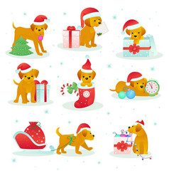 christmas dog pet animal puppy in santa hat vector image