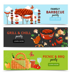 family bbq party banners vector image