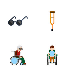 flat icon cripple set of stand wheelchair vector image vector image