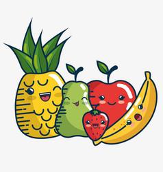 set fresh fruits characters handmade drawn vector image