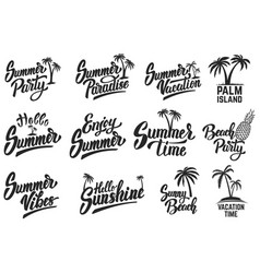 set of summer time lettering isolated on white vector image