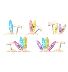 Set of Surfboards with Wooden Placard vector image vector image
