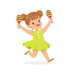 sweet little girl playing maracas young musician vector image vector image