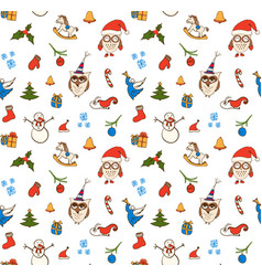 cartoon christmas seamless pattern with vector image