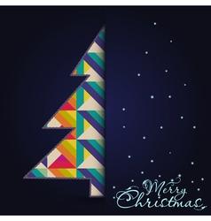 Christmas card with tree Xmas card vector image