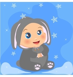 cute baby girl in suit with ears vector image vector image