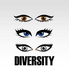 Eyes of women showing diversity vector image vector image