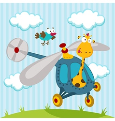 giraffe and bird on a helicopter vector image