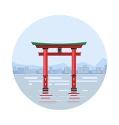 Japan at the floating gate icon vector image