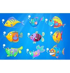 Nine colourful fishes under the deep ocean vector
