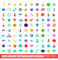 100 space technology icons set cartoon style vector
