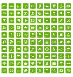 100 umbrella icons set grunge green vector