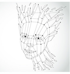 3d of human head created in low poly style face vector image