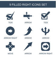 9 right icons vector image