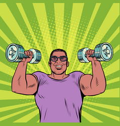 a black man lifts dumbbells sports and health vector image
