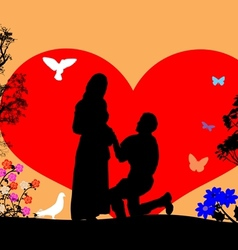 A young man kneel and woo the girl silhouette vector image