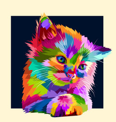 Adorable colorful animal cat in style pop art vector