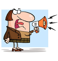 Angry Business Woman Yelling Through A Megaphone vector image