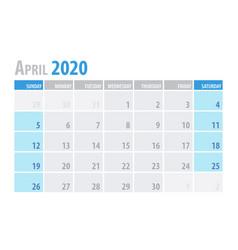 April calendar planner 2020 in clean minimal vector