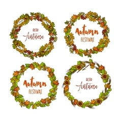 Autumnal or fall round frame background Wreath of vector image