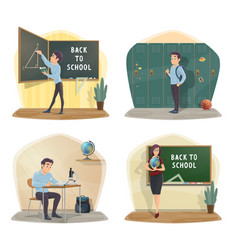 back to school posters geometry geography lessons vector image