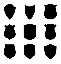 black shield emblems isolated on white background vector image