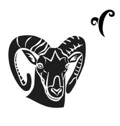 black silhouette of aries are on white background vector image
